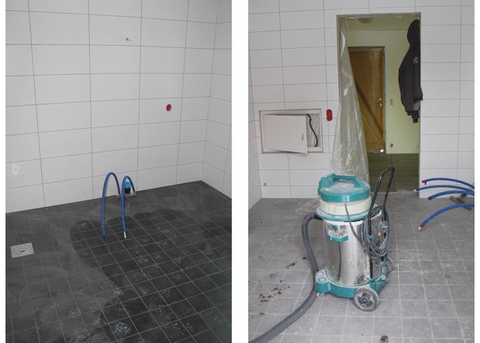BAD 1 OG 2: Badet til venstre er hovedbadet oppe. Badet til høyre er bad kombinert med vaskerom nede.