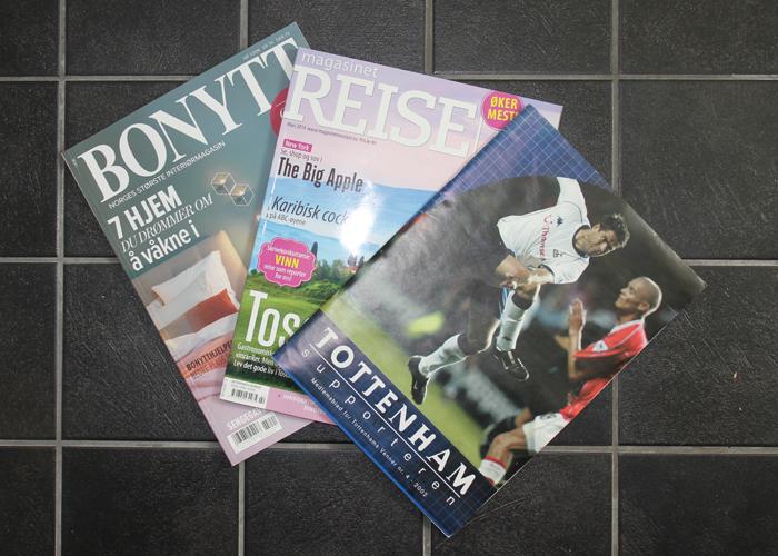 YMSE: Hus, reise eller fotball. Alltid godt lesestoff.
