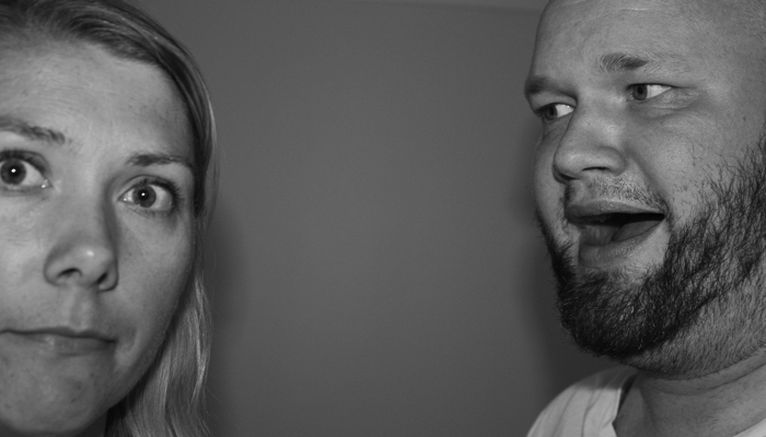 SAMMEN FOR LIVET: Dette bildet er svart/hvitt av den enkle grunn at Tove er dritbrun, mens jeg er knallrød.